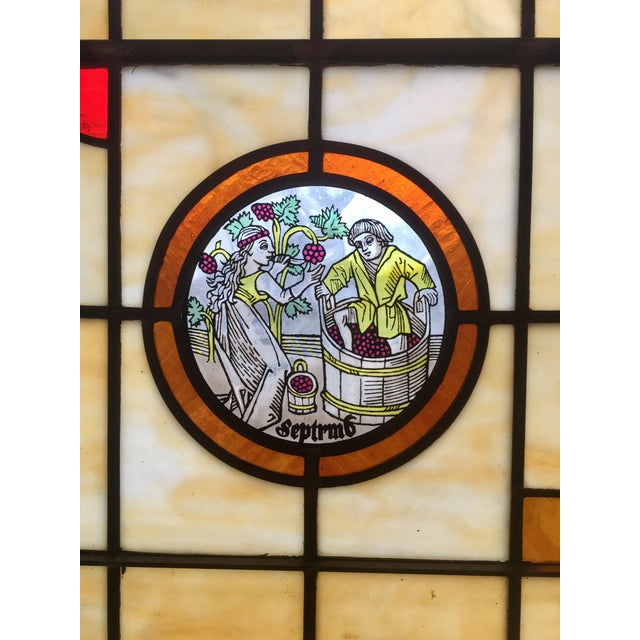 Vintage Stained Glass Harvest Panel - September - Image 6 of 7