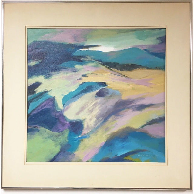 Beautiful vintage Mid Century Abstract Expressionist Oil Painting on canvas board. The painting is signed by the artist...