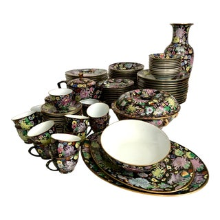 Chinese Famille Noire Mille Fleur China Set - 93 Pieces For Sale