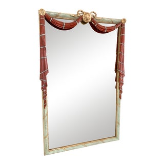 Early 20th Century Red Painted Drapery Swag Mirror For Sale