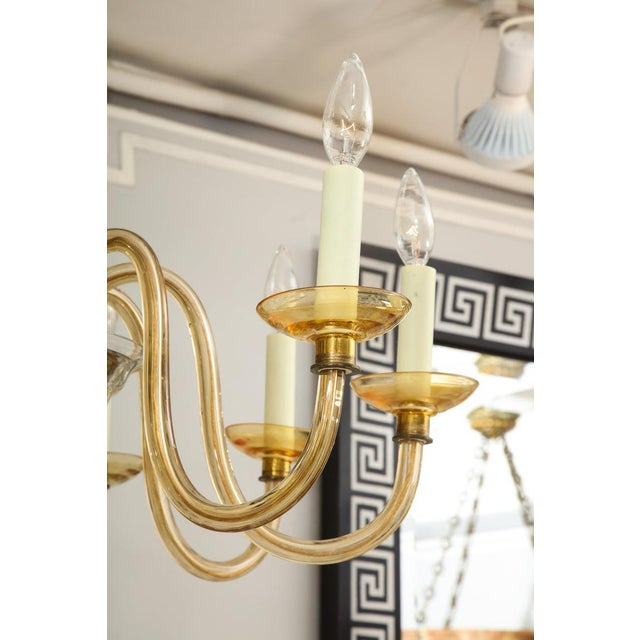 Mid 20th Century Amber Eight-Arm Murano Glass Chandelier For Sale - Image 5 of 8