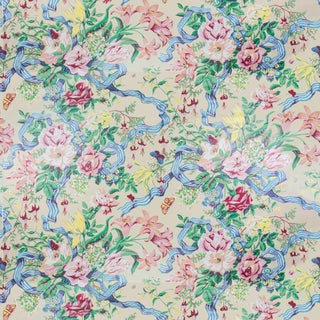 Vintage Bassett McNab Nicole Floral Ribbon Fabrics, 1 Yard For Sale