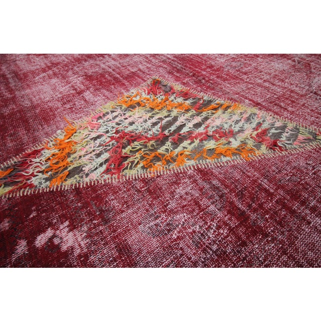 Vintage Turkish Overdyed Patchwork Oushak Distressed Rug - 6′9″ × 10′ For Sale In Houston - Image 6 of 6