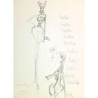 French Fashion Pencil Sketch For Sale