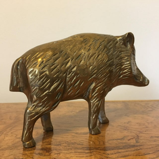 Mid-Century Brass Boar For Sale In Richmond - Image 6 of 7