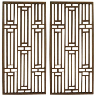 1950s Chinese Wood Window Panels - a Pair For Sale