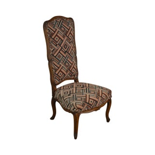 French Louis XV Style Vintage Walnut High Back Carved Slipper Chair For Sale