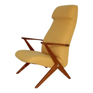 1950s Danish Modern Yellow Fabric Lounge Chair