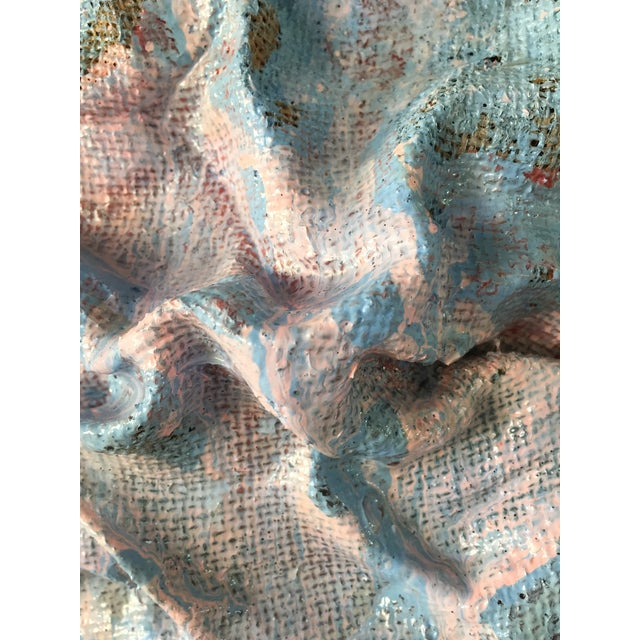 """Textile """"Sky Blue Burlap Drips"""" Mixed Media Wall Sculpture by Chloe Hedden For Sale - Image 7 of 13"""