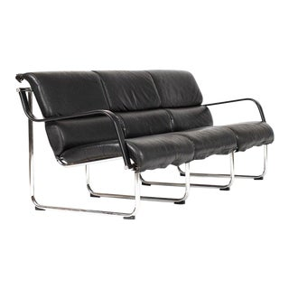 1960s Danish Modern Chrome Frame/Black Leather Sling Sofa For Sale