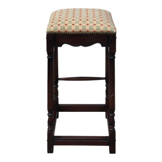 Antique Rosewood Stool With Schumacher Fabric and Nailheads For Sale