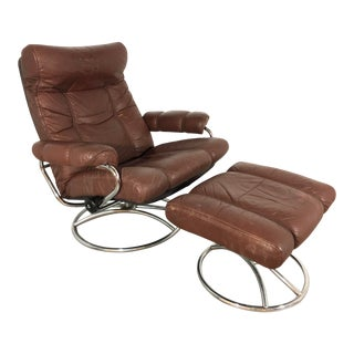 1970s Vintage Ekorness Stressless Reclining Chair and Ottoman For Sale