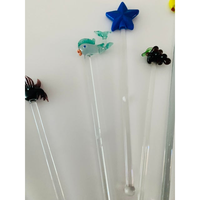 Vintage Art Glass Tropical Animals Fish Assorted Swizzle Sticks - Set of 10 For Sale - Image 4 of 12