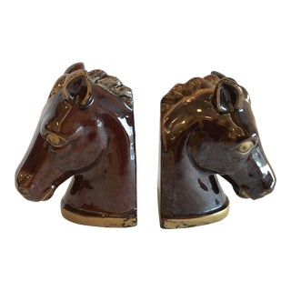 Vintage Ceramic Hand Painted Thames Horse Bookends - A Pair