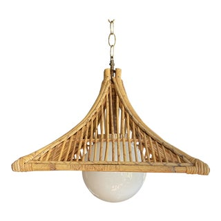 1960s Vintage Bamboo & Milk Glass Pagoda Chandelier For Sale