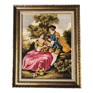 Vintage Classical French Needlepoint Picture in Original Frame For Sale