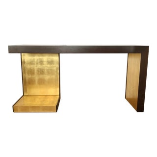 1990s Modern Wood and Gold Leaf Console Table For Sale