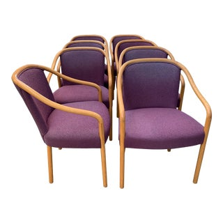 Brickel Associates for Arthur Elrod Dining Chairs in Plum - Set of 8 For Sale