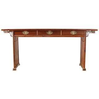 Chinese Bamboo Rattan Altar Table or Server Console Table For Sale