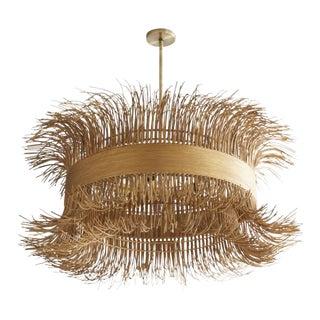 Art Deco Rattan Steel in Led Lamp Filamento Chandelier For Sale