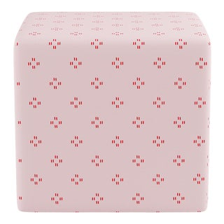 Cube Ottoman in Pink Faro For Sale