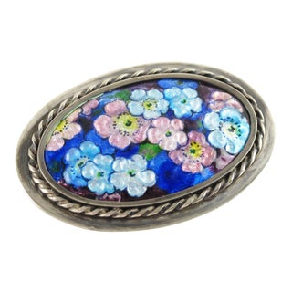 Camille Faure Limoges France Brooch Pin Floral Enamel on Copper For Sale