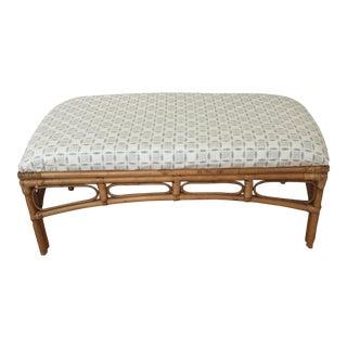 Upholstered Vintage Rattan Bench