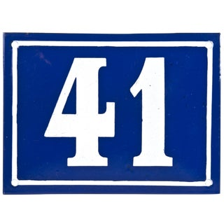 Large Vintage French Enamel House Number 41