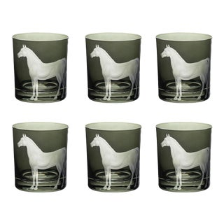 Farm Horse Double Old Fashioned Glasses Smoke - Set of 6 For Sale