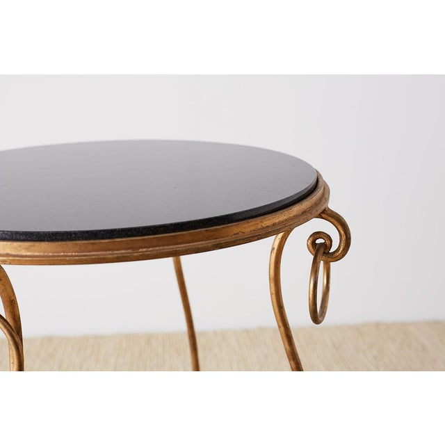 Rene Drouet Style Gilded Iron and Granite Table For Sale - Image 4 of 13