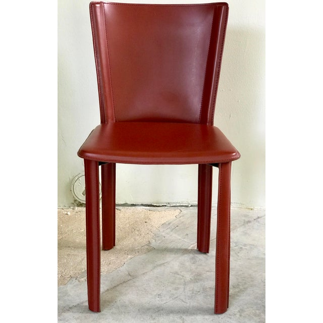 """Design Within Reach """"Bottega"""" side chairs set of four. Excellent condition, and in """"Russian """" red. Chair are made with..."""