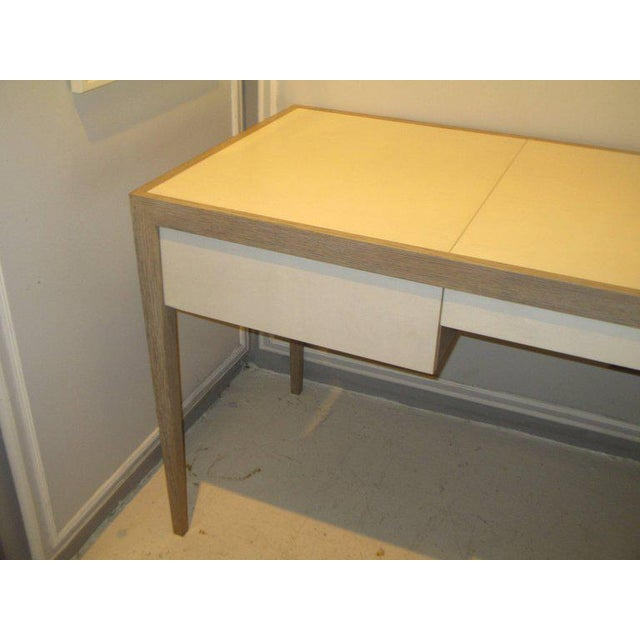 Art Deco Custom Cerused Oak and Parchment Desk Featuring Three Central Drawers For Sale - Image 3 of 6