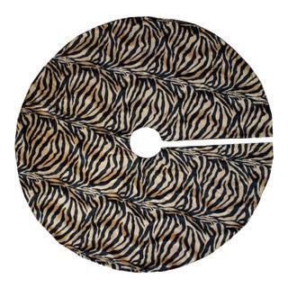 Plush Vintage Inspired Tiger Animal Print Christmas Tree Skirt For Sale