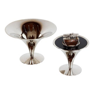 Vintage Art Deco / Mid Century Modern Chrome Tulip Lighter & Ashtray - a Pair For Sale