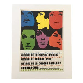 "1970s Vintage ""Festival De La Cancion Popular"" Cuban Concert Poster Print For Sale"