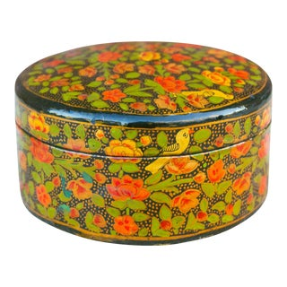 Round Bengal Painted Paper Mache Box For Sale