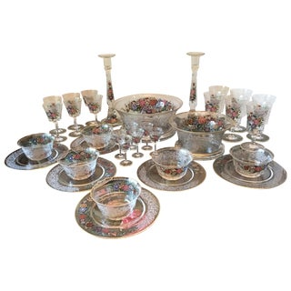 Lobmeyr Moser Austrian Enameled Etched Flower Garden Luncheon 34pc Set For Sale