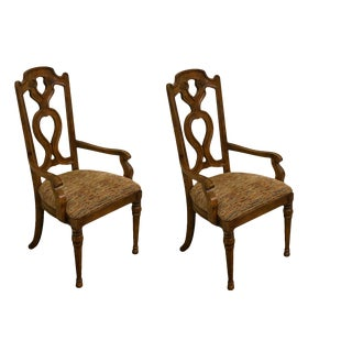 Drexel Heritage Spanish Revival Dining Arm Chairs 183-810- A Pair For Sale
