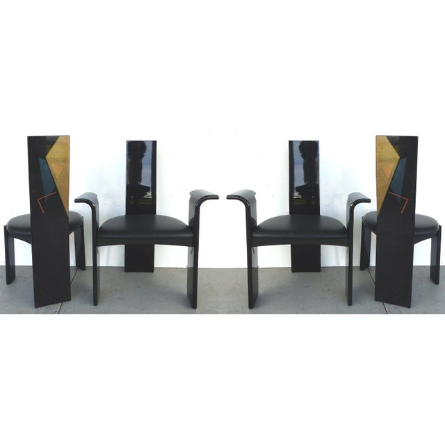 Lacquered Chairs with Painted Backs - Set of 4 - Image 3 of 6