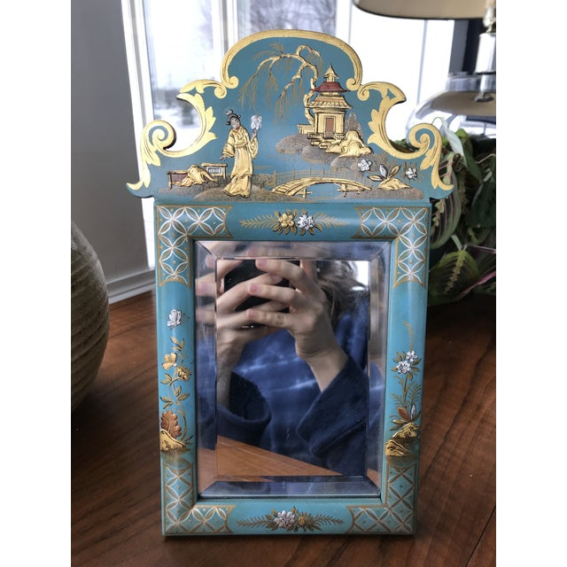 1970s Vintage Mid Century Chinoiserie Teal Lacquered Pagoda Textured Painting Dressing Mirror For Sale - Image 11 of 12