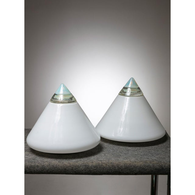 """Remarkable set of 2 """"Rio"""" talbe lamps by Giusto Toso for Leucos. Opaline glass cone with crystal top, supported by a white..."""