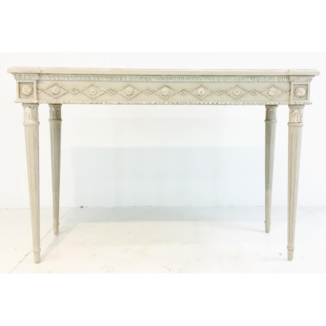 2010s Ave Home Gustavian Swedish Gray Console Table For Sale - Image 5 of 5