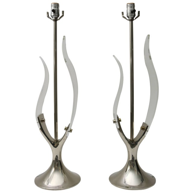 """""""Tulip"""" Table Lamps in Lucite and Polished Chrome by Laurel - a Pair For Sale - Image 11 of 11"""