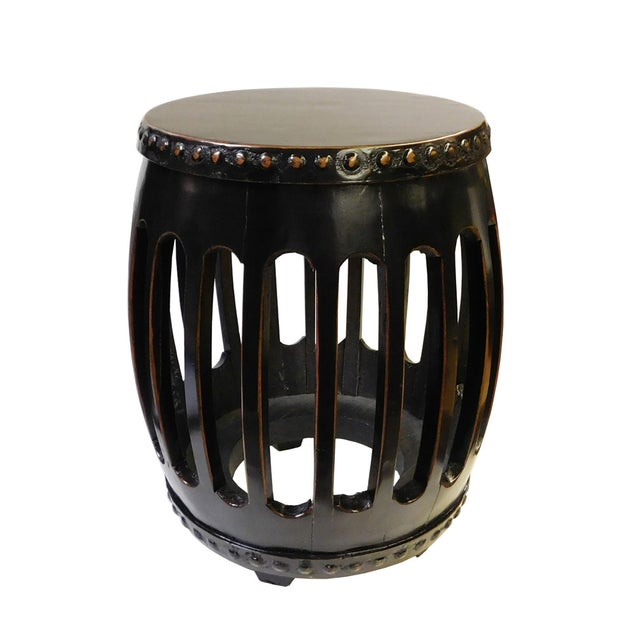 Chinese Black Round Barrel Wood Stool - Image 2 of 7