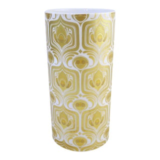 Gilded Modernist Porcelain Vase by Bjørn Wiinblad For Sale