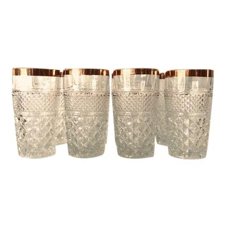 Hollywood Regency Pressed , Cut Glass With Gold Rimmed Set of 8 Highball Water Glasses For Sale