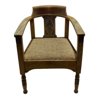 19th Century Antique Horseshoe Shaped Back Captains Armchair For Sale