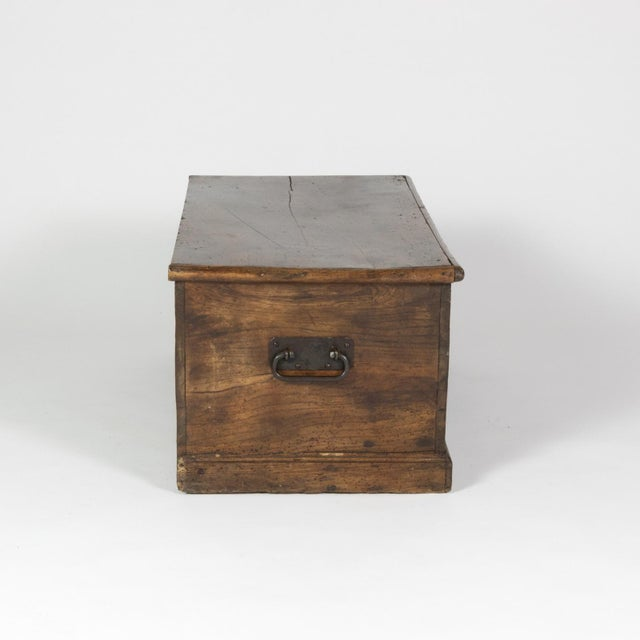 Rustic Chestnut Trunk With Over-Scale Iron Hinges, English Circa 1860. For Sale - Image 4 of 13
