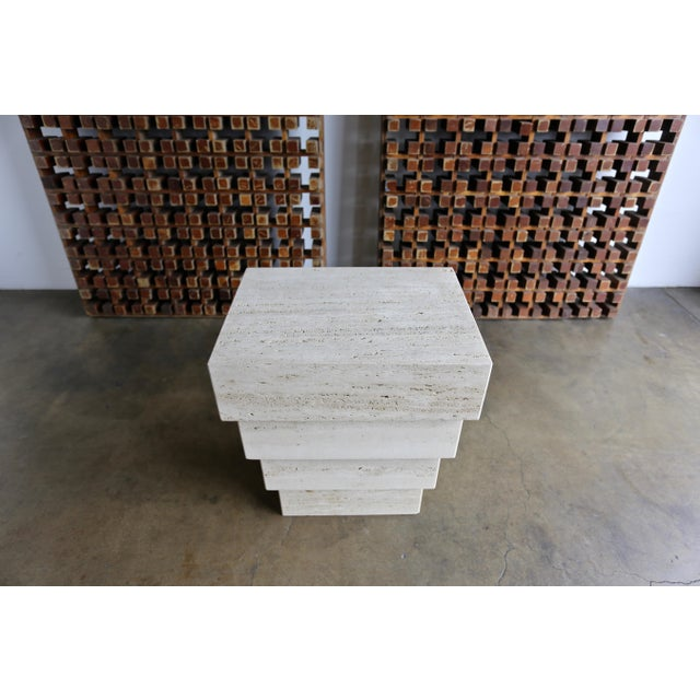 1970s Sculptural Modernist Travertine Pedestal For Sale - Image 5 of 8