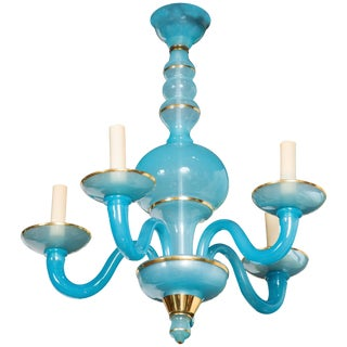 1960s Vintage Turquoise Blue Opaline Chandelier For Sale